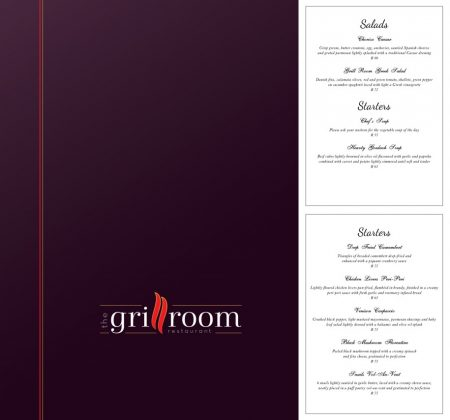 Grillroom East London Menu